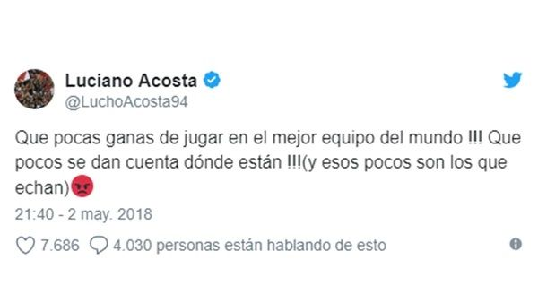 El tuit de Luciano Acosta