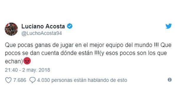 El tuit de Luciano Acosta<br>