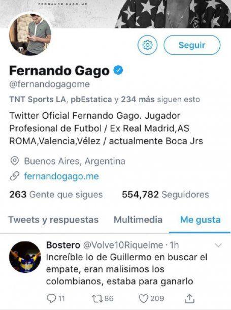 """El """"like"""" de Fernando Gago"""