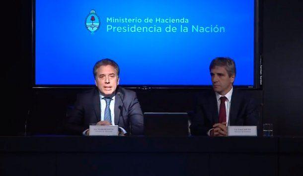 <p>Los ministros de Hacienda, Nicolás Dujovne, y de Finanzas, Luis Caputo</p>