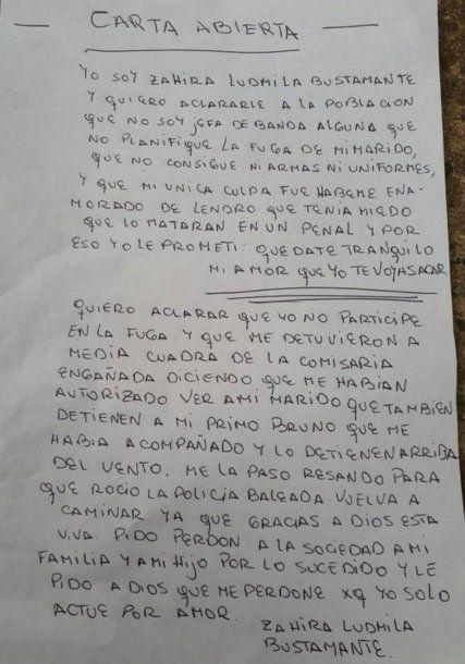 La carta que envió la mujer a través de su abogado