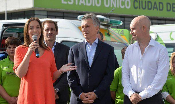 María Eugenia Vidal, Mauricio Macri y Horacio Rodríguez Larreta