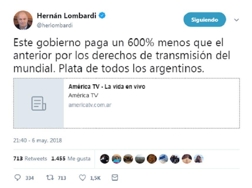 El grosero error de Hernán Lombardi en las redes sociales sobre la transmisión del Mundial