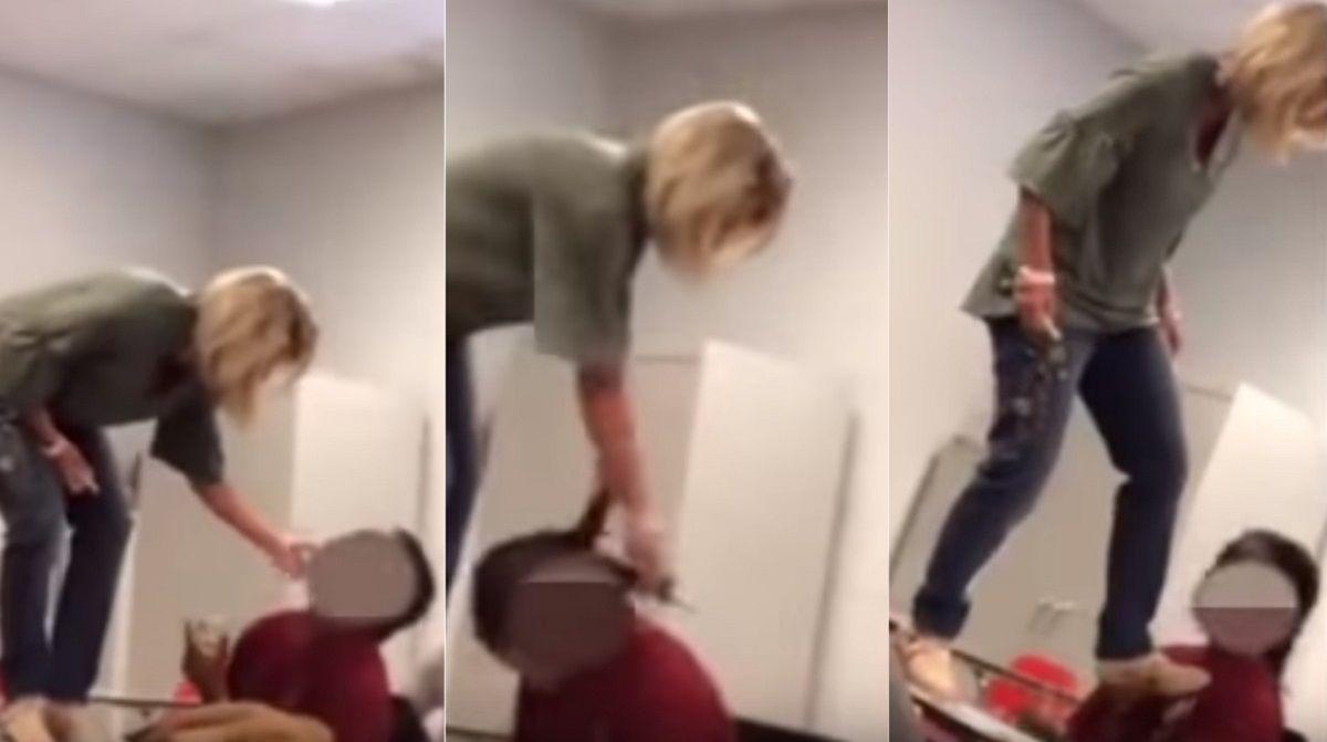 La grabaron golpeando a un alumno dormido