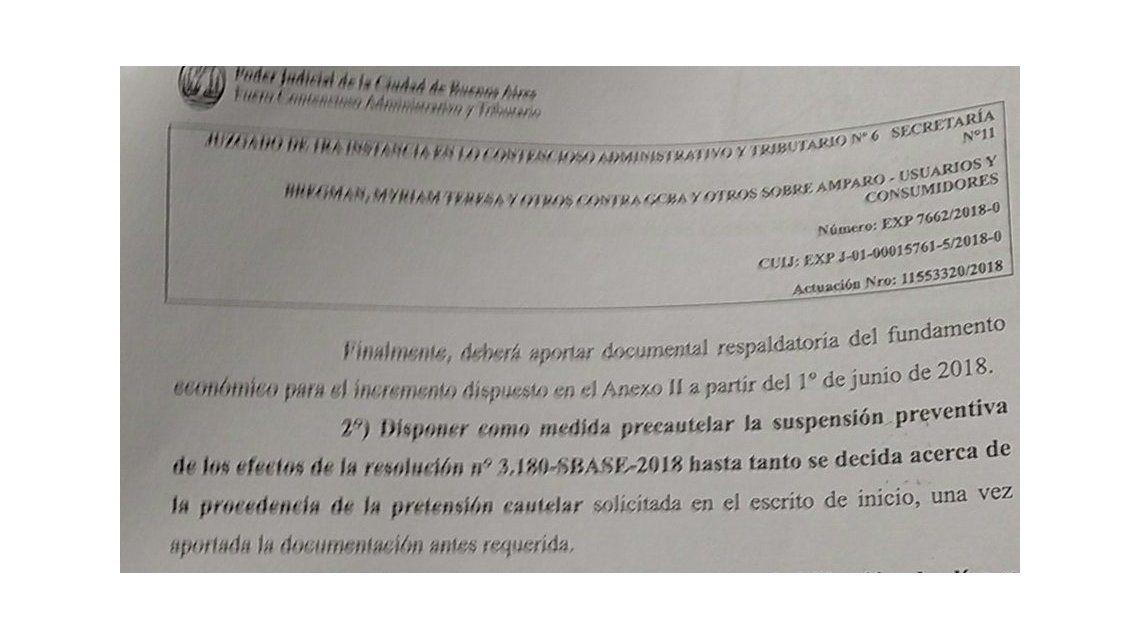 La justicia porteña frenó el tarifazo al subte y hoy no habrá aumento