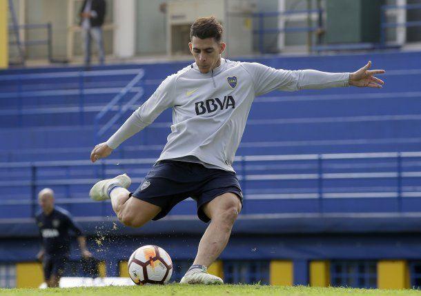 Cristian Pavón en el que puede ser uno de sus últimos entrenamientos en Boca<br>