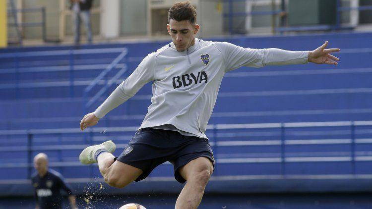 Cristian Pavón en el que puede ser uno de sus últimos entrenamientos en Boca