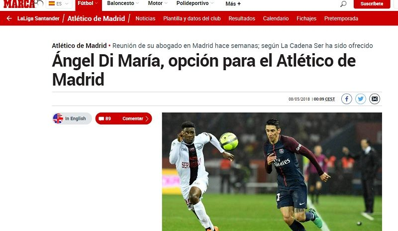 Bomba: Ángel Di María podría irse del PSG al Atlético Madrid