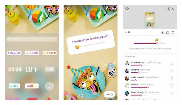 Emoji deslizable: un nueva encuesta en Instagram