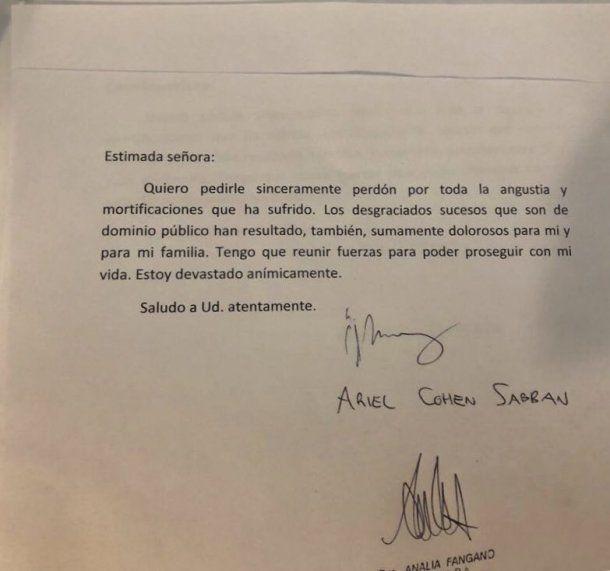 La carta de Ariel Cohen Sabban<br>