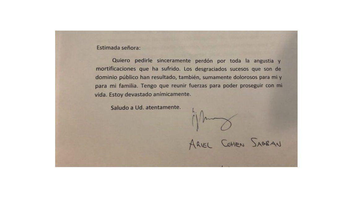 La carta de Ariel Cohen Sabban