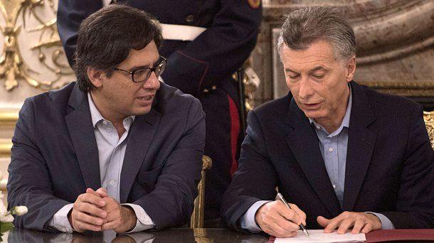 Germán Garavano y Mauricio Macri<br>