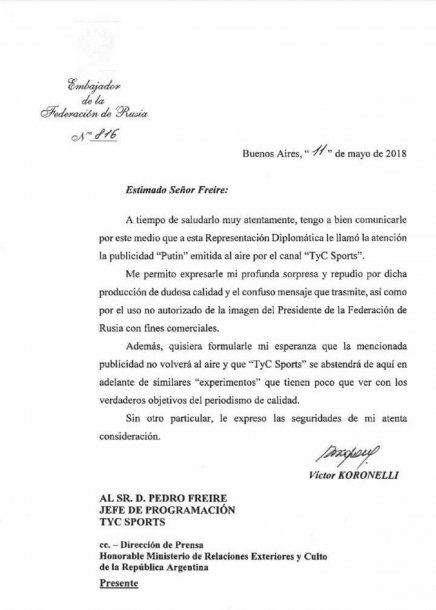 Carta de la Embajada de Rusia a TyC Sports