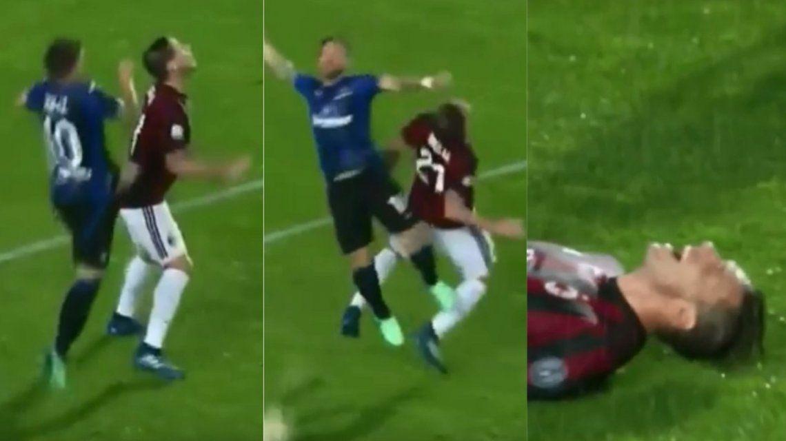 Papu Gómez lesionó a Lucas Biglia