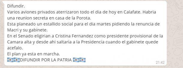 El mensaje que alertaba sobre una reunión a lo Logia Lautaro en El Calafate<br>