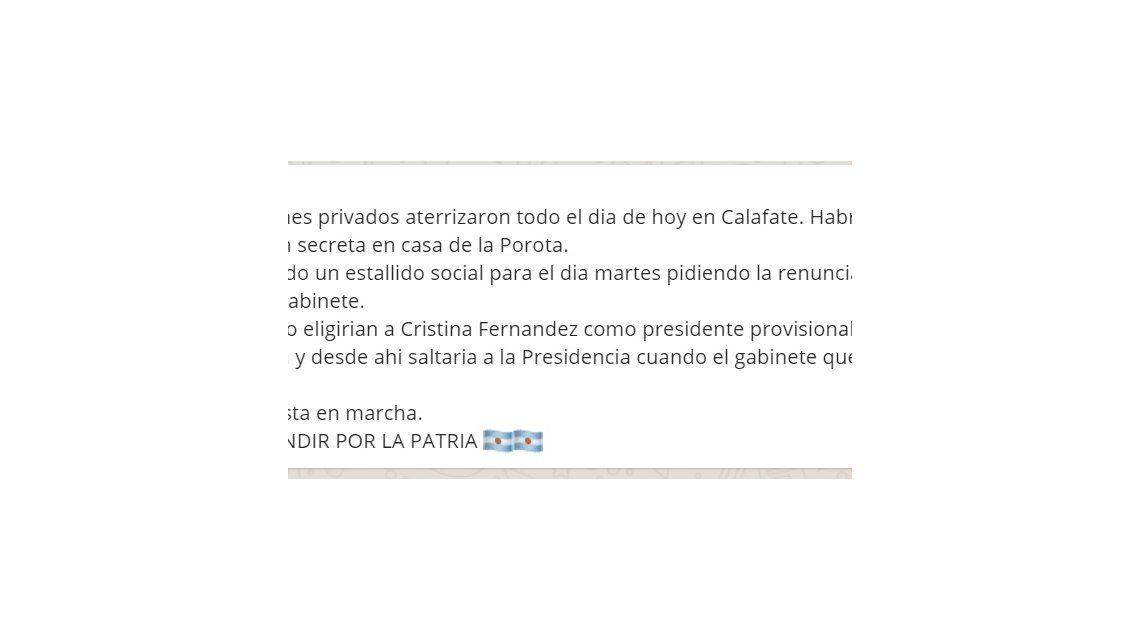 El mensaje que alertaba sobre una reunión a lo Logia Lautaro en El Calafate