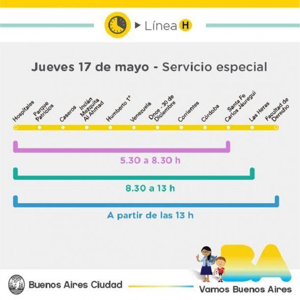 Cronograma de servicios del día 17 de mayo<br>