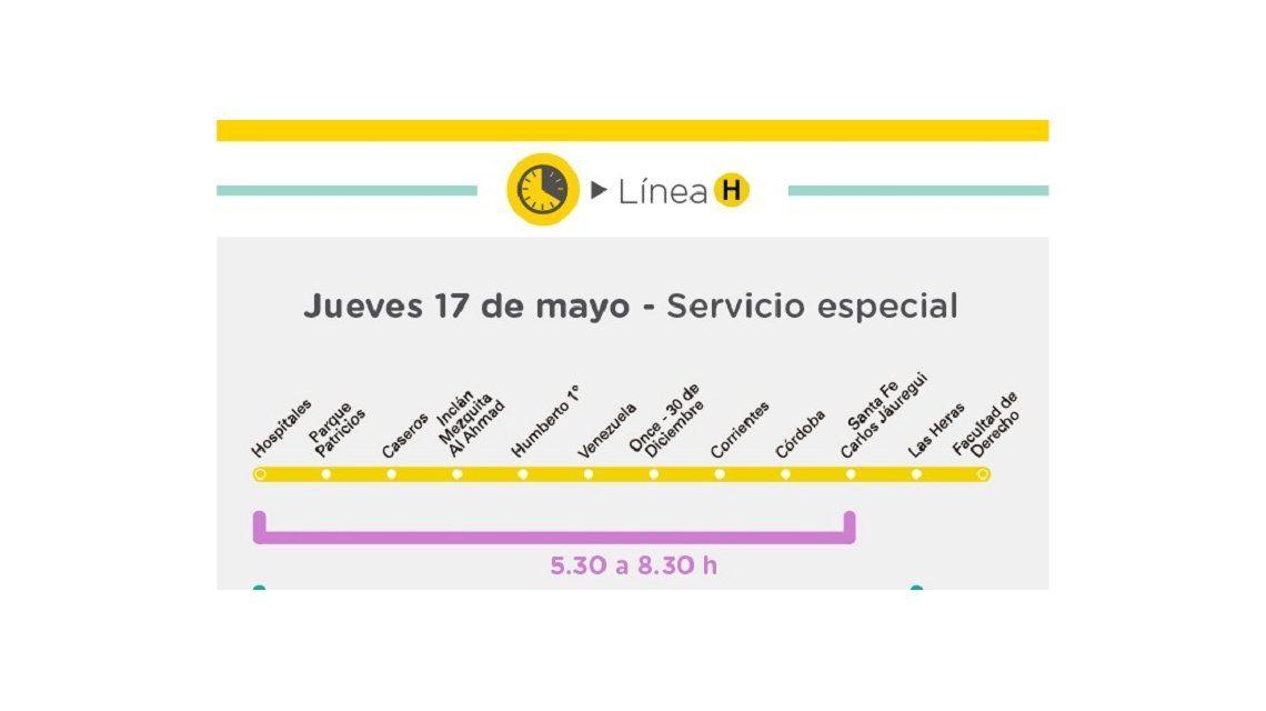 Cronograma de servicios del día 17 de mayo