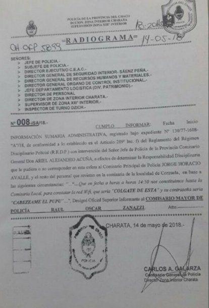 El acta hecha por el director de Zona Interior Charata sobre el hecho (diariochaco.com)
