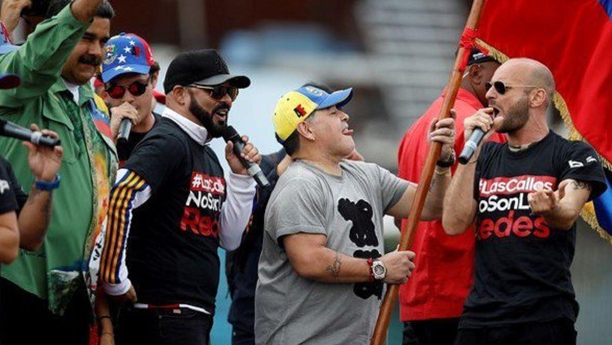 Maradona en el cierre de Maduro.