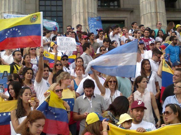 <p>Protesta de venezolanos en Argentina</p>