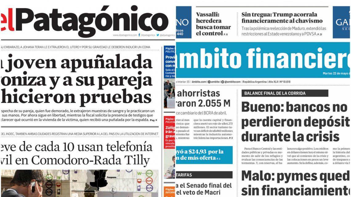 Tapas de diarios del martes 22 de mayol de 2018