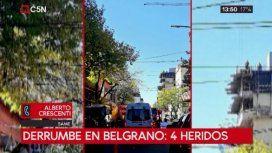 Derrumbe en una obra en construcción en Belgrano: hay cuatro heridos