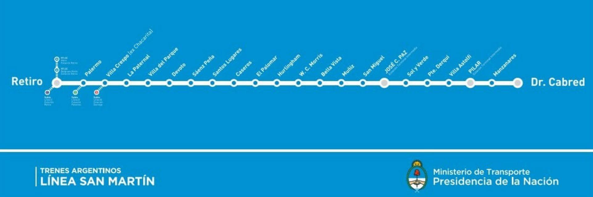 El recorrido de la línea San Martín estará limitado hasta mediados de 2019