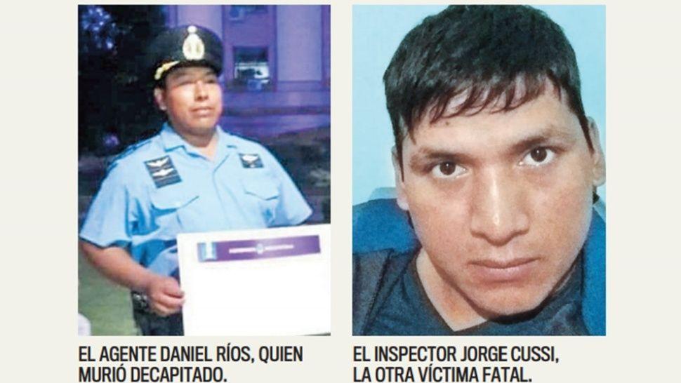 Las víctimas son el auxiliarDaniel Ríosy el inspectorJorge Carlos Cussi.