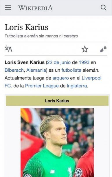 Bullying a Loris Karius en Wikipedia