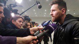 Lionel Messi declarando ante la prensa
