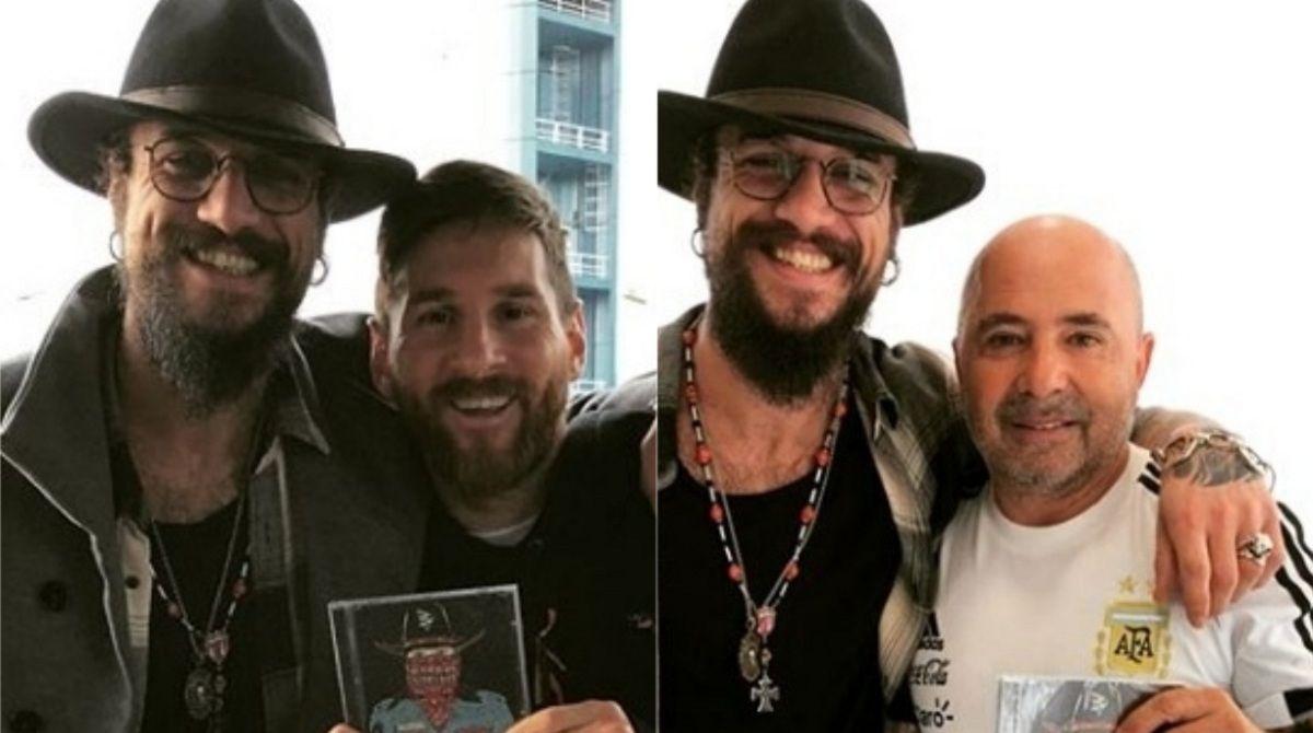 Daniel Osvaldo con Messi y Sampaoli - Crédito: Instagramdaniosvaldobv