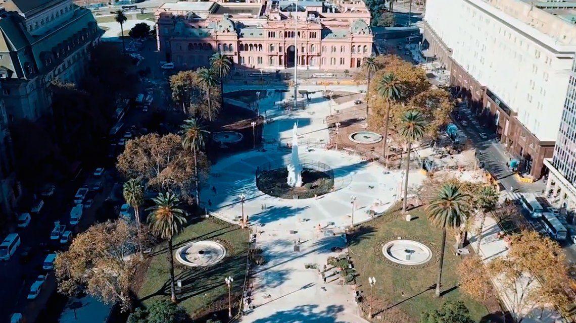 VIDEO: Así quedó la histórica Plaza de Mayo tras la renovación