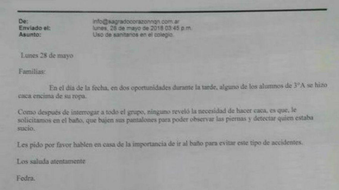 Los padres del curso quedaron indignados por el mail de la maestra
