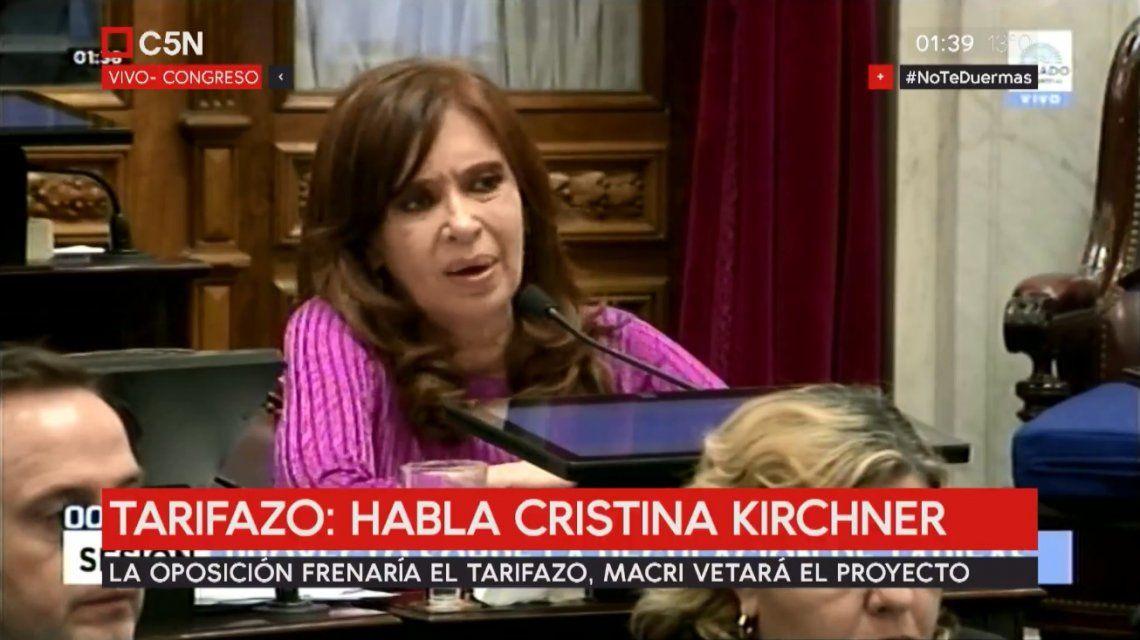 Cristina Fernández de Kirchner en la sesión por la Ley Antitarifazo