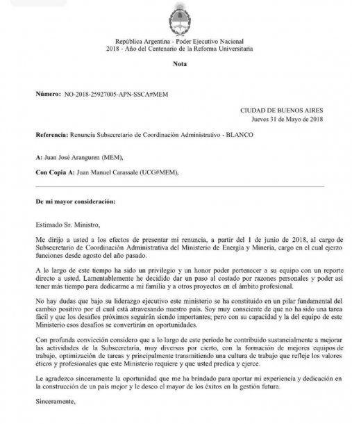 Marcelo Blanco renunció como subsecretario de Coordinación Administrativa de Energía y Minería