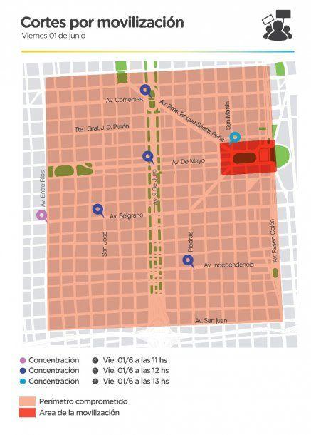 El mapa de los cortes que difundió el Gobierno de la Ciudad<br>