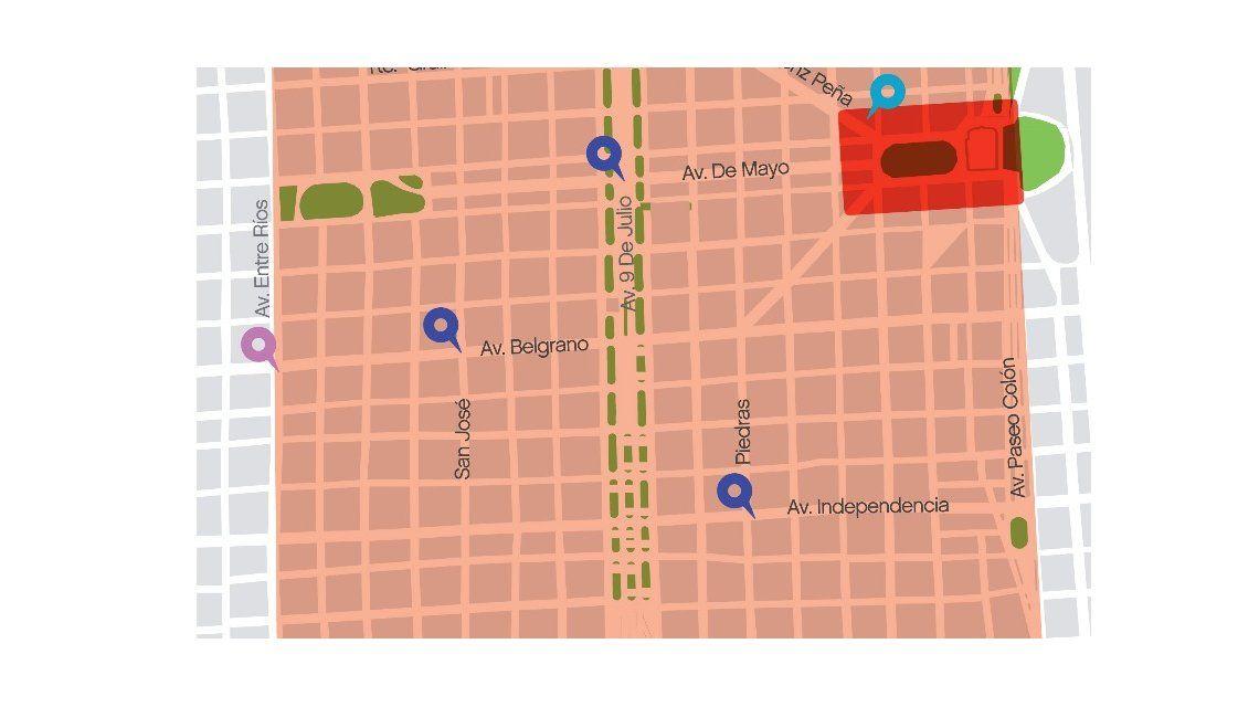 El mapa de los cortes que difundió el Gobierno de la Ciudad