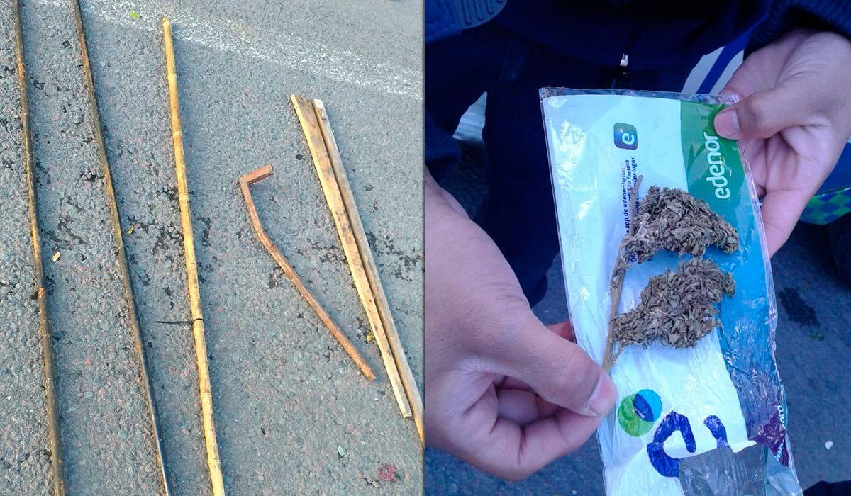 Secuestraron palos, gomeras, piedras y drogas en operativos de prevención de la Marcha Federal