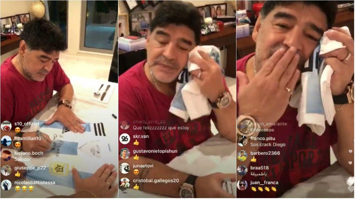 Maradona firmó camisetas en vivo en Instagram