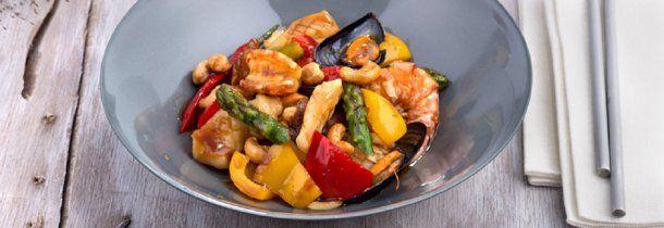 Wok de verduras y frutos de mar - Cr??dito: www.kikkoman.es