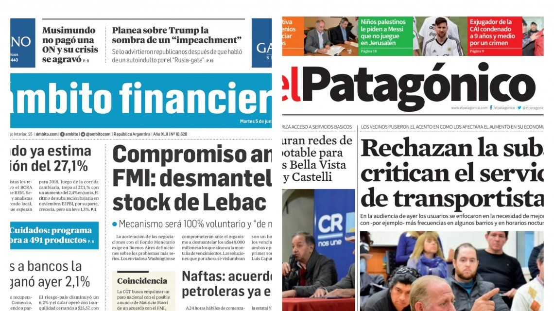 Tapas de diarios del martes 5 de junio de 2018
