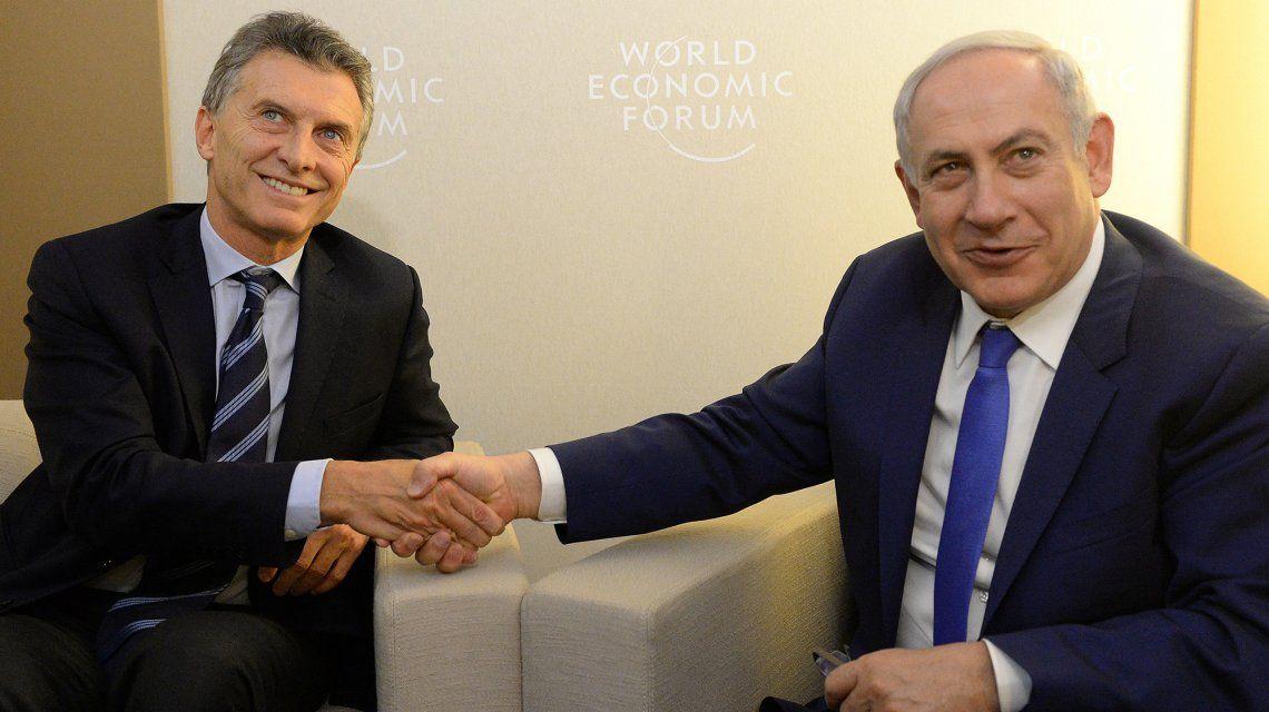 Mauricio Macri junto a Benjamín Netanyahu durante el Foro Económico de Davos.