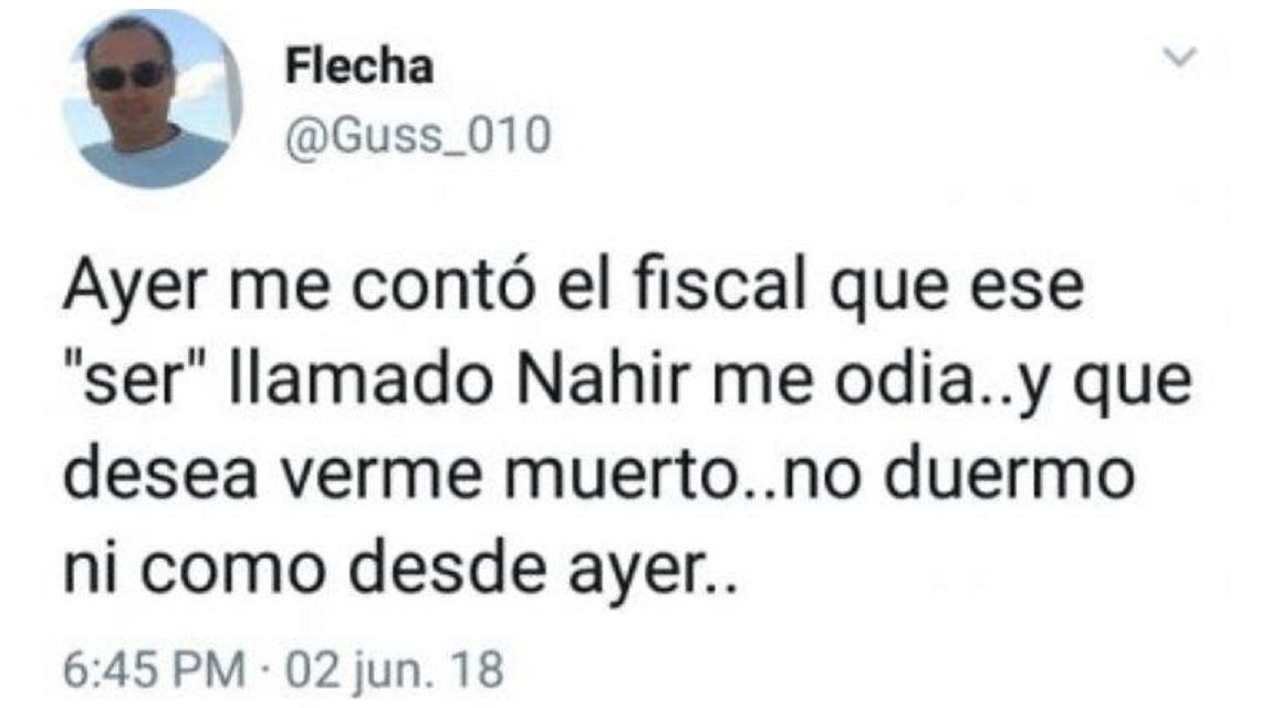 El papá de Fernando Pastorizzo reveló que Nahir Galarza lo insultó y que desea verlo muerto
