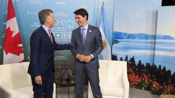 Mauricio Macri y Justin Trudeau,, primer ministro de Canadá<div><br></div>