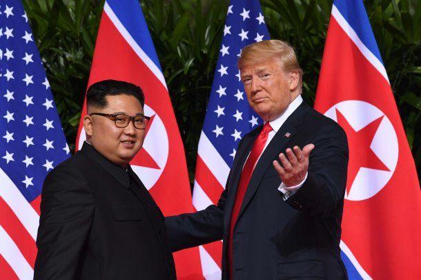 Kim Jong-Un y Donald Trump se encontraron en Singapur<br>