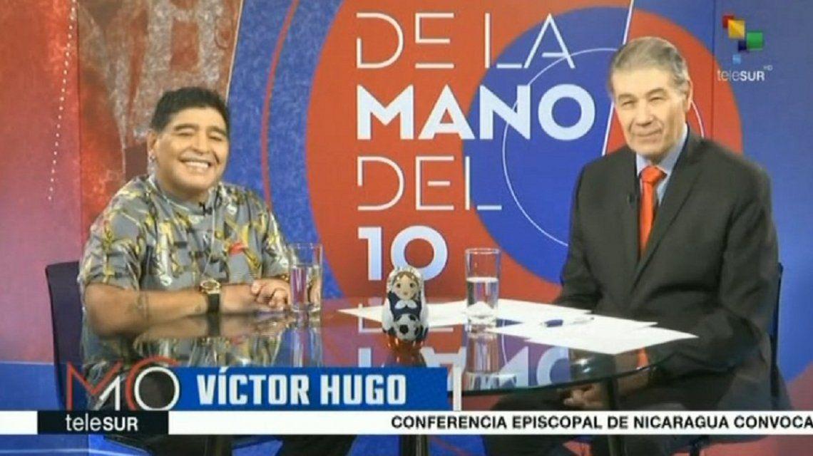 Diego Maradona y Víctor Hugo Morales
