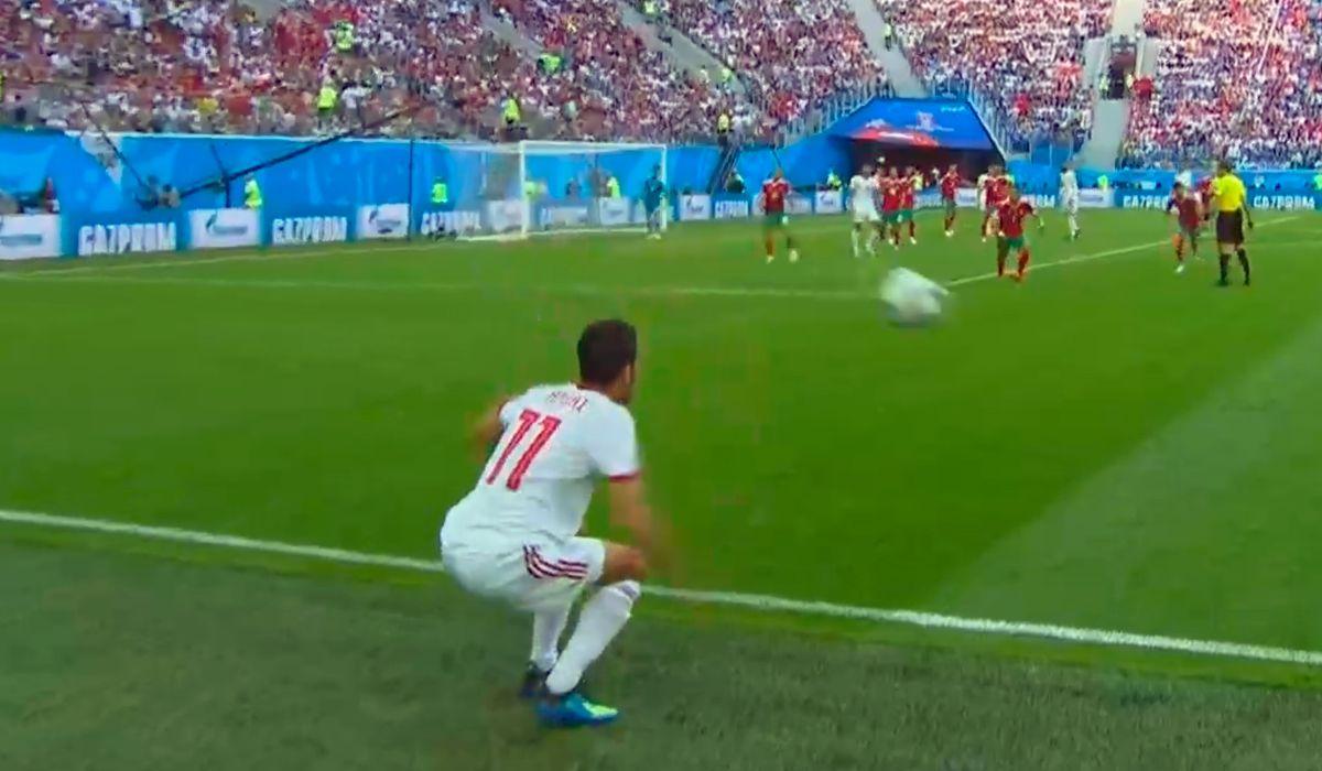 El duelo entre Marruecos e Irán contó con el lateral más insólito del Mundial