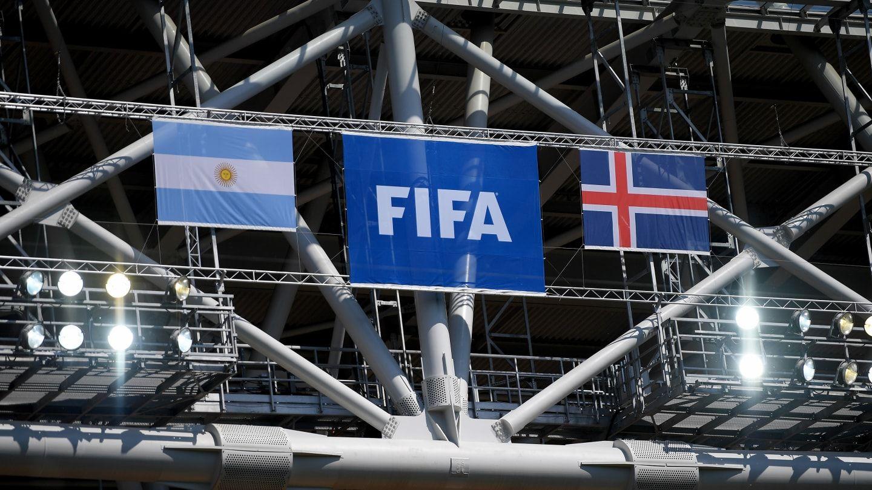 Las banderas ya están en el estadio del Spartak
