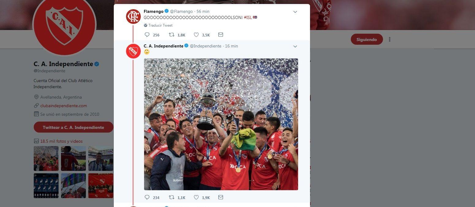 El cruce de Independiente en Twitter